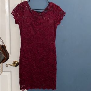 Burgundy flower mini dress